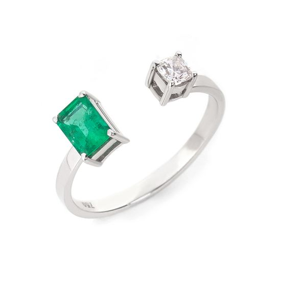 anel-ouro-branco-aberto-esmeralda-diamante