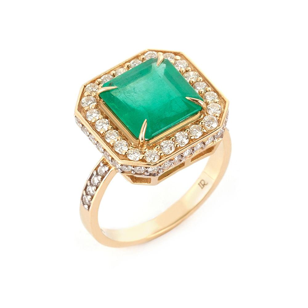 63354341905b4 Anel esmeralda, fancy yellow e diamantes - venturelegner