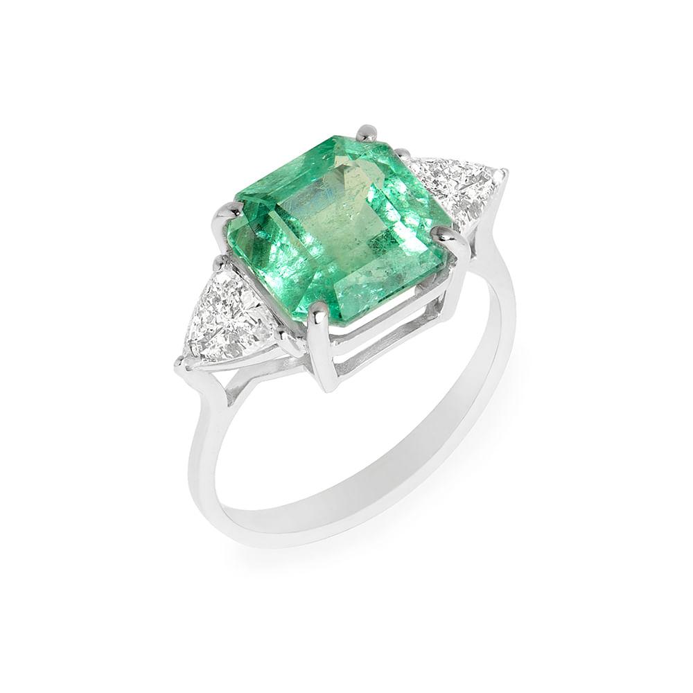 ffd07459d0a5c Anel esmeralda colombiana 3,71cts e diamantes - venturelegner